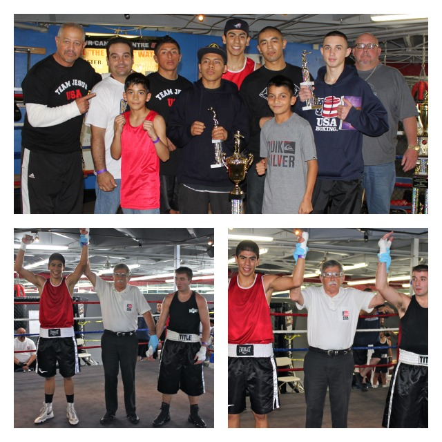 In Bout #1, it was Antonio Garcia (L) getting the win over Brandon Ariza (R). Also, in the top photo we have the members of the Punch Out Boxing Team who came all the way from Anaheim to compete in the 2012 Boxers for Christ National Tournament. Photos: Jim Wyatt