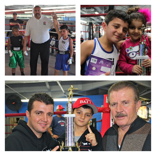 In Bout #1, it was Julius Ballo (top left, left side) getting the win over Xavion Douglas. In the right panel, Ballo poses for a photo with his sister and below he is with his father and grandfather.