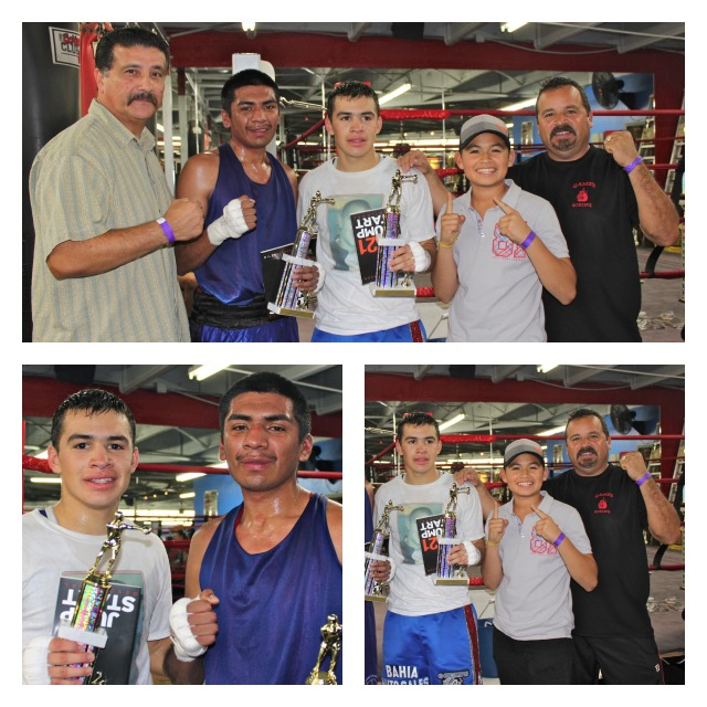 After defeating Jose Vigil, Genaro Gamez poses for photos with Vigil, his coach Tony Contreras, his brother Rey Gamez and father Luis Gamez