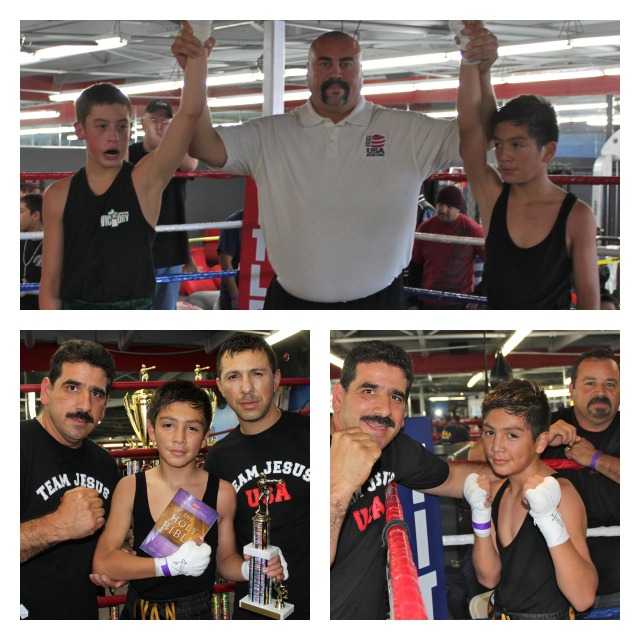 (top panel) After getting the win over Luis Monarrez (L) in Bout #2, it was Ivan Guardados' turn to pose for photos his father and coaches.