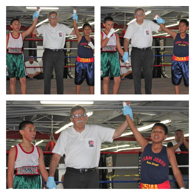 In Bout #3, it was Alex Celaya (R) of USIAA getting the win over Eric Hernandez (L) of the United Boxing & Fitness Club of Chula Vista, CA.