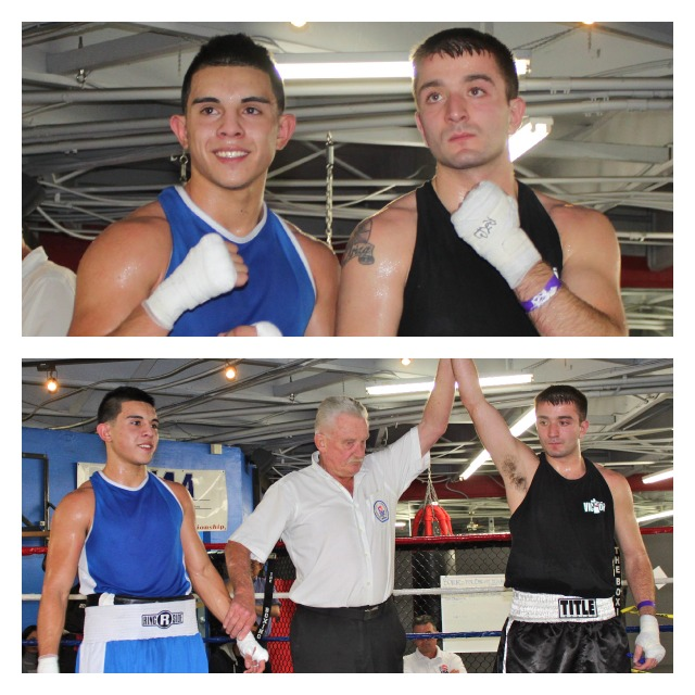 In Bout #4, it was Brandon Ariza (R) of the Victory Boxing Club in Omaha, Nebraska getting the victory over Adrian Gutierrez of the Bound Boxing Club in Chula Vista, CA. Photos: Jim Wyatt