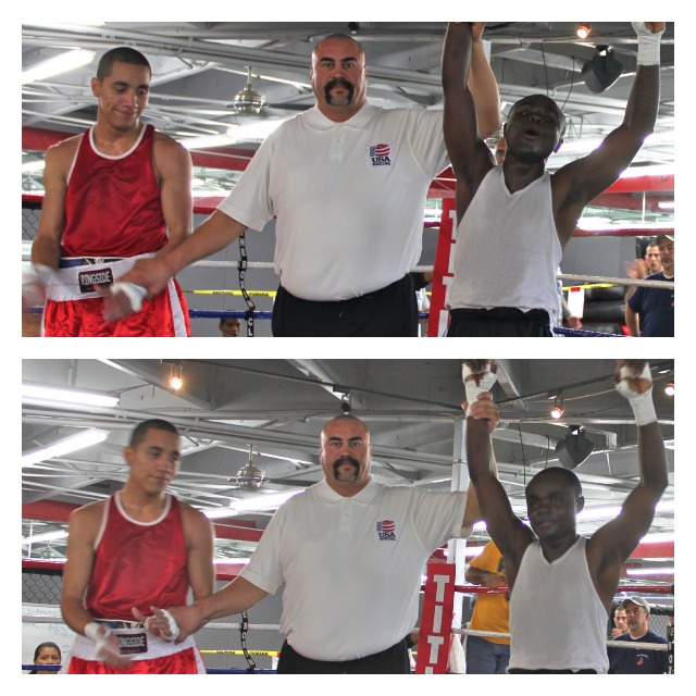 in Bout #5, it was Mulapi Estani (R) of the San Diego Boxing Academy getting the win over Wilson Guzman of the Grace Boxing Club in Palmdale, CA.