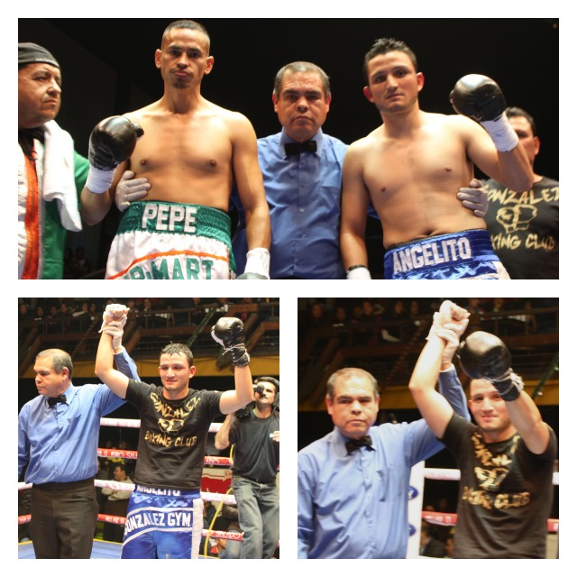 Collage of the Humberto Gutierrez win over Jose Luis Vazquez on Wednesday, December 19, 2012 at Salon Las Pulgas in Tijuana's Downtown.