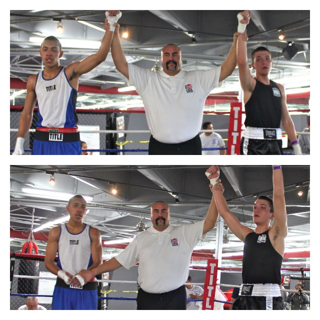 In Bout #6, it was Nicholas Carrico (R) of Old School Boxing, San Diego, getting the win over Andrew Sanchez (L) of the Duarte Boxing Club in Duarte, CA.