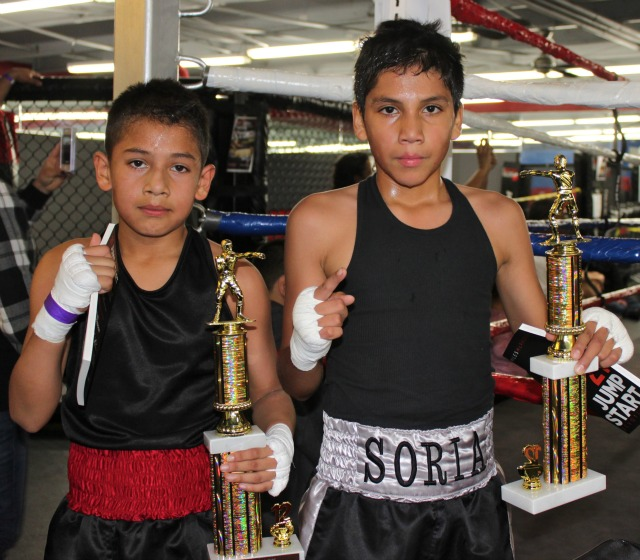 In Bout #8, it was Felix Soria of the Son of God Boxing Club gaining the victory over Daniel Martinez (R) of Grace Boxing.