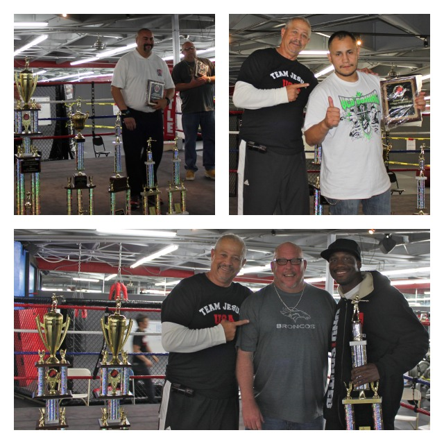 Regarding the trophy presentations, here we have Coach/author Robert Coons handing out the best senior boxer trophy to Berlin Kerney (bottom right) and in the top panels we see referee Hondo Fontan receiving an award for best official of the tournament and coach Hector Alatorre