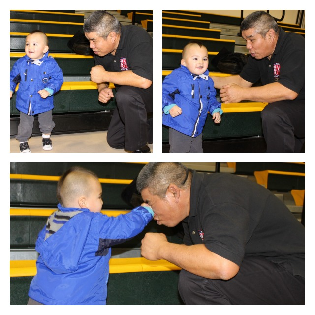 Collage of Grandpa Vichai Supa Kip Pol messing with the wrong grandchild.
