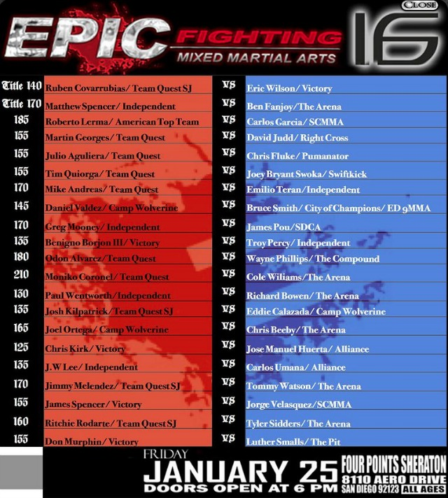 Epic Fighting 16 fight card for January 19, 2012