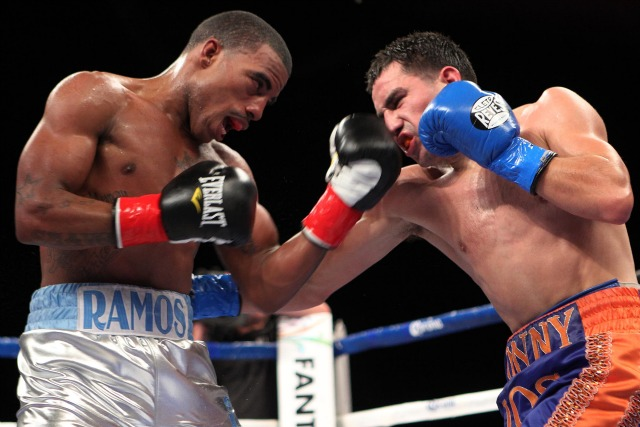 Rico Ramos (L) is shown landing a short left uppercut on Ronny Rios' chin. Photo: Tom Casino/Showtime