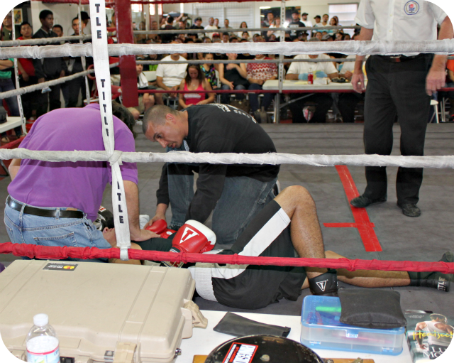 Raul Filimon finds himself on his back after a Brian Nevarez KO punch