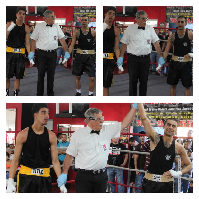 """In the above three photos, we first see Ahmad Noori (R) in a pensive state as he muses over the pending outcome of his bout with Francisco Valdovinos (L). At the outset, there is dread on his face as he watches his opponent reveling. """"Is it possible that I lost?"""" Then, in photo #2, he replays the bout over in his mind and becomes even more reflective. Then came the announcement, """"Our winner is out of the Blue Corner! Ahmad Noori's face lit up."""
