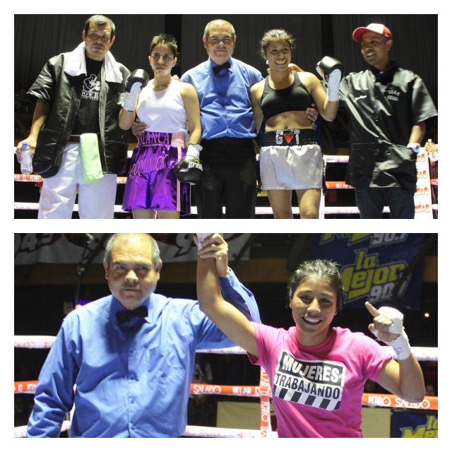 Kenia Stephanie Enriquez remains undefeated after defeating Blanca Raymundo by an unanimous decision Wednesday evening at Salon Las Pulgas in downtown Tijuana.