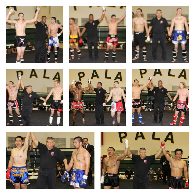 (l to r, top to bottom)  it was Thor McPhail defeating Anthony Lomeli in Bout#1, Renee Sanchez defeating Kevin Linnersten in Bout #2, Jose Rodriguez defeating Jake Vice in Bout #3, Rick Dubay defeating Michael Wenger in Bout #4, Oleaun Underwood defeating Nick Wallenga in Bout #5, Michael Carmona defeating Aaron Mazzrillo in Bout #6, Jun Ferrer defeating Edgar Rojas in Bout #7, Emmanuel Garcia defeating Andrew Gabriel in Bout #8. There was no declared winner in Bout #9 which ended up being an exhibition between Diana Jones and Ivan Garcia.