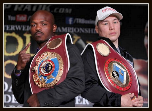 Saturday evening, Timothy Bradley (l) will be putting his World Title on the line versus Timothy Bradley (29-0-0, 12 KOs) from Palm Springs, CA and the challenger Ruslan Provodnikov (22-1-0, 15 KOs) from Beryozovo, Russia