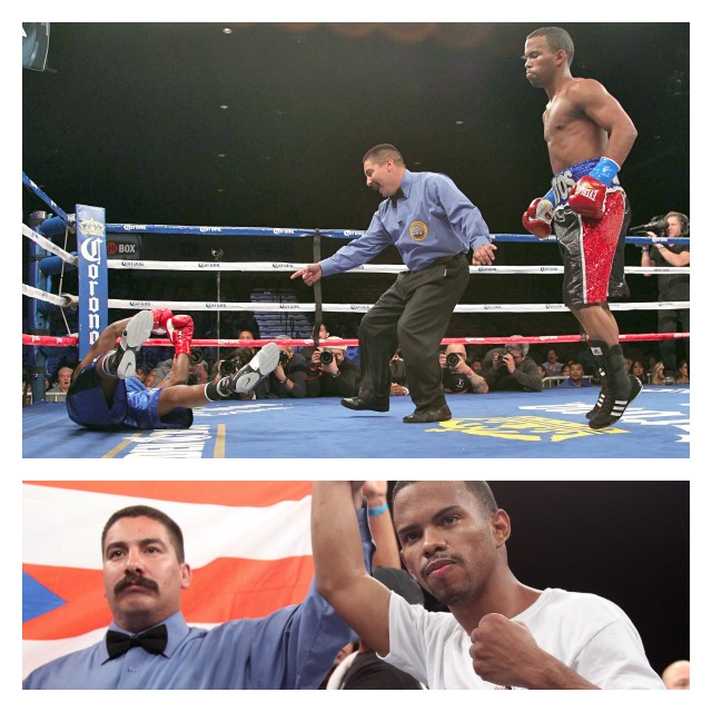 In panel four, down goes Hoskins from the two solid left hooks. Final photo shows Santos having his arm raised in victory by referee Daniel Sandoval.