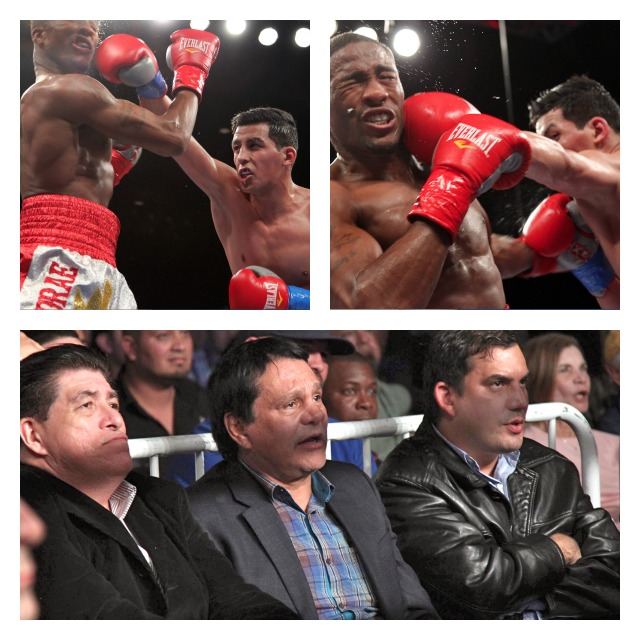 """Centeno giving A junior middleweight Hugo """"The Boss"""" Centeno Jr. giving KeAndrae Leatherwood"""