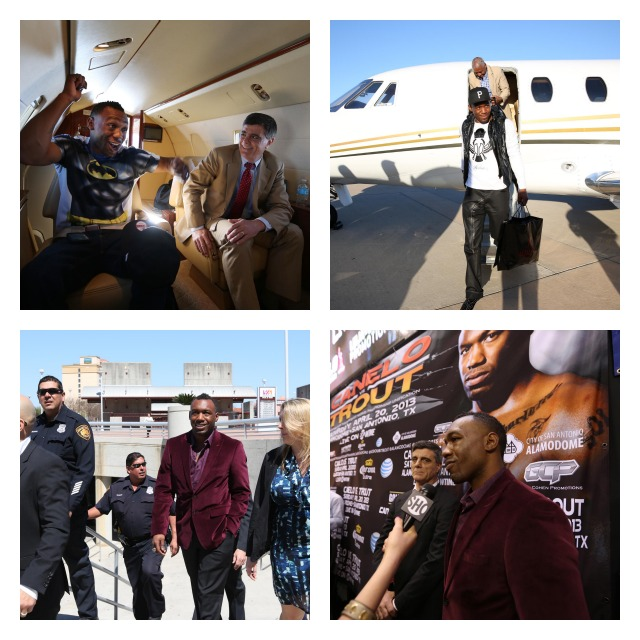 Austin Trout arrived in Houston on a private jet. If I can get you to take a closer look at the photo (top left) you will see Trout is revealing his true identity.