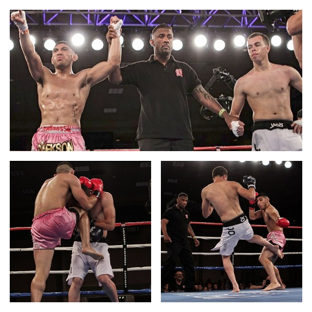 In Bout #1, it was George Garcia (L) winning a split decision victory over Jose Rodriguez. Photos: Ahren Nunag
