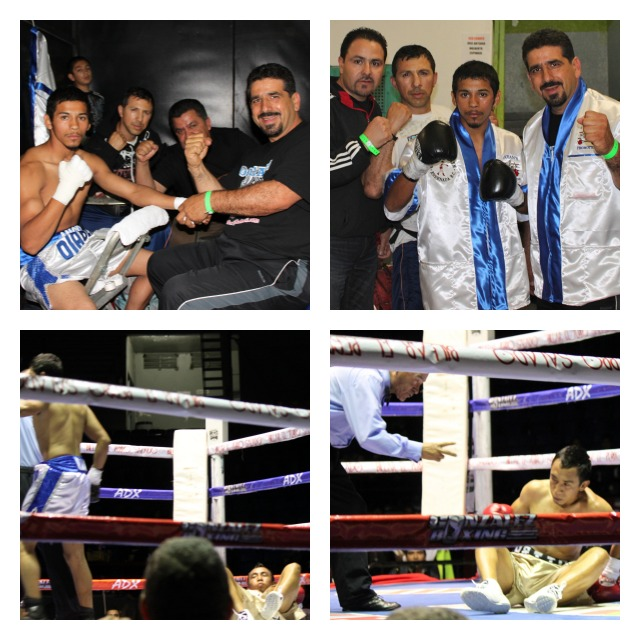 "Angel ""Diablito"" Ramos (white trunks, blue stripe) of Ensenada tried everything but he just couldn't get the tough Norberto Espinoza to quit. All photos: Jim Wyatt."
