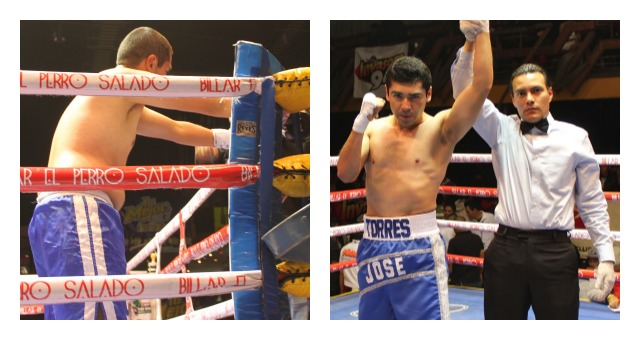 In the final bout of the evening, it was Jose Torres (r) getting the TKO victory over Edgar Galvan. All photos: Jim Wyatt