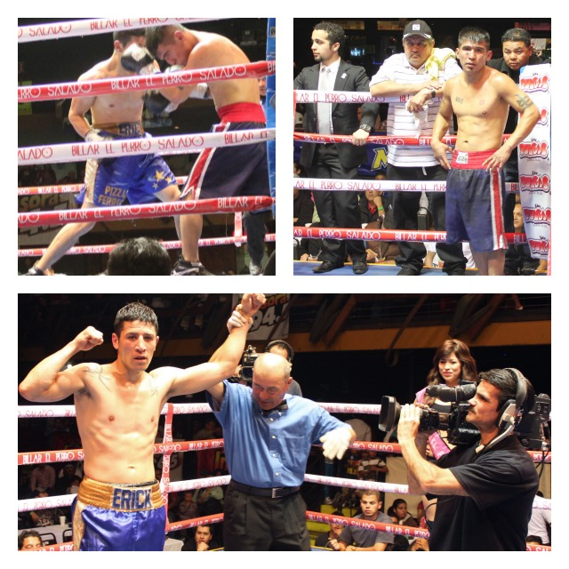 Erick Martinez (blue trunks, gold stripe) gets the best of Antonio Villa in Bout #3