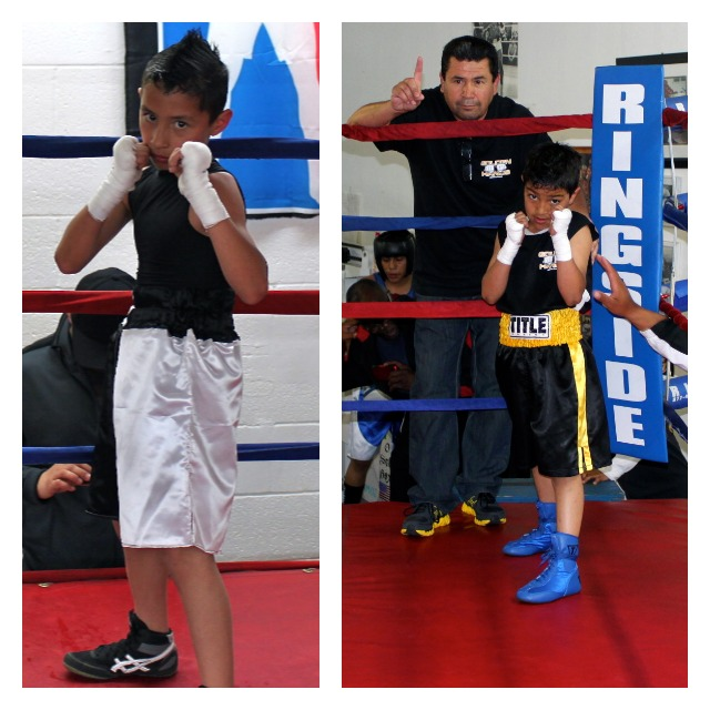 Ezequiel Aguayo (l) and Julian Garcia (r) went nonstop for three exciting rounds in the LBC 44 Junior Olympics District Tournament on Saturday, April 13, 2013 at Old School Boxing in San Diego.