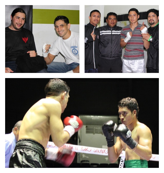 Pre-fight, the boxers were in the dressing room preparing. (top right) Julio Cesar Nario; (top left) Rolando Perez with his trainer Adrian Melendrez.