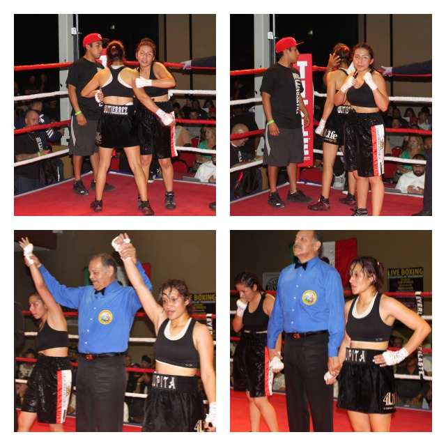 At the conclusion of their bantamweight bout, Aracely Tinoco (below) has her arm raised in victory by referee David Mendoza.