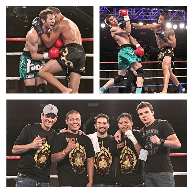 In the above photo we have Marvin Madariaga (right, black trunks) landing a straight right on the chin of his opponent Greg Roberts. In the bottom photo, Madariaga (second from the right) is joined (l to r) by his support group, Kru Alex Palma, brother Lawrence Madariaga, Carl Gebhardt and finally Artem Sharoshkin.