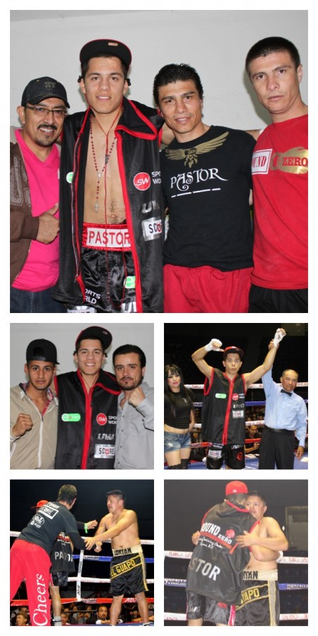 Prefight, Pastor Elenes posed for several photos with his support group. After the quick ending, Elenes (bottom right panel) gives his opponent Adrian Gonzalez a hug.