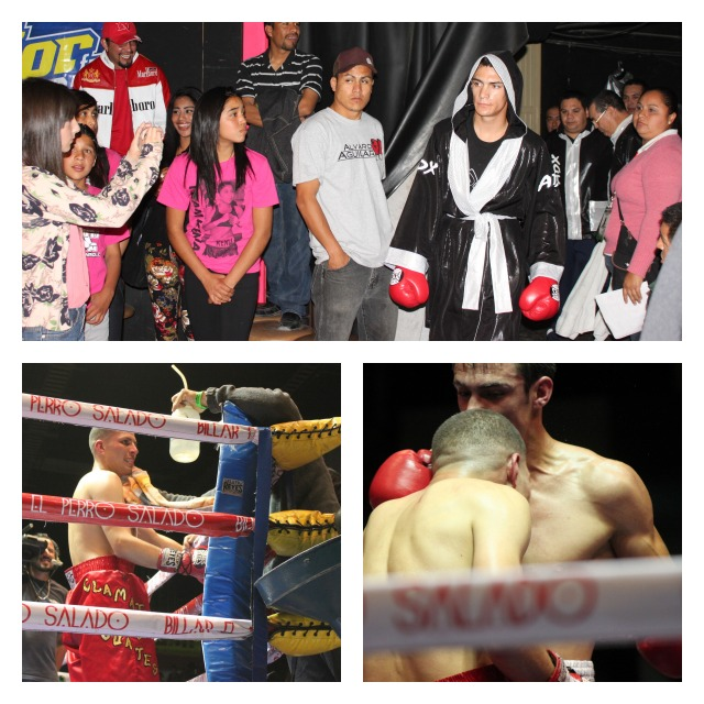 Bout #4 (top photo) Roberto Ramirez makes his entrance. (bottom photos, l to r) Julio Paz in his corner and the two fighters unloading at the very same time.