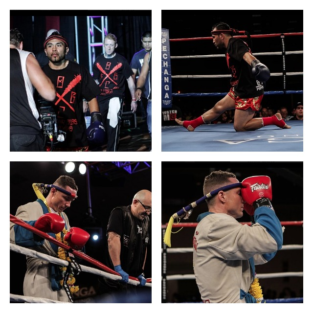 Prior to their meeting in Bout #5, fighters  John Vargas (top) and Joe Davidson (bottom) go through their regular rituals.