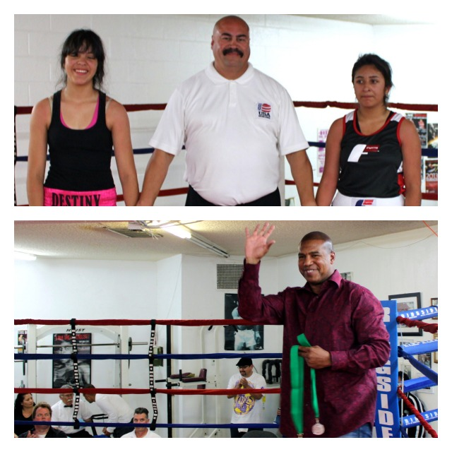 At the conclusion of Bout #5 between Destiny Navarro of the Sparta Boxing Gym in El Centro, CA and Lillina Ruiz