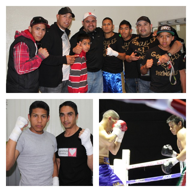 (top photo) Erick Flores is joined by his support group. (bottom left) Eduardo Iniquez (r) poses for a photo with Jose Arteaga. Final photo shows Arteaga (r) and Flores facing off at the outset of their bout.