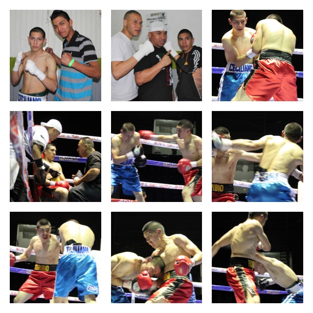 Collage of photos shows the boxers of Bout #7, Cristian Ciciliano (blue trunks) and Jose Toribio (red trunks).