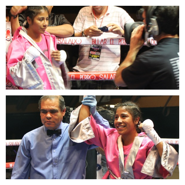 Kenia Enriquez has her arm raised in victory by referee Juan Jose Ramirez after gaining her sixth straight victory, her third by an early stoppage. All photos: Jim Wyatt