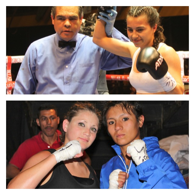 (top photo) Brenda Flores has her arm raised in victory by referee Juan Jose Ramirez. (below photo of the two ladies from Agua Prieta, Rosa Diaz (r) and Monica Murrieta (l). After their long ride home, these ladies will remember this night and come well prepared for their next meeting in Tijuana. All photos: Jim Wyatt