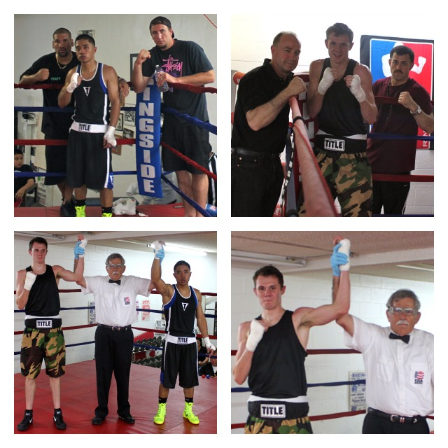 Nico Cortez (bottom right photo) has his arm raised in victory by referee Will White after defeating Jorge Ounanan.
