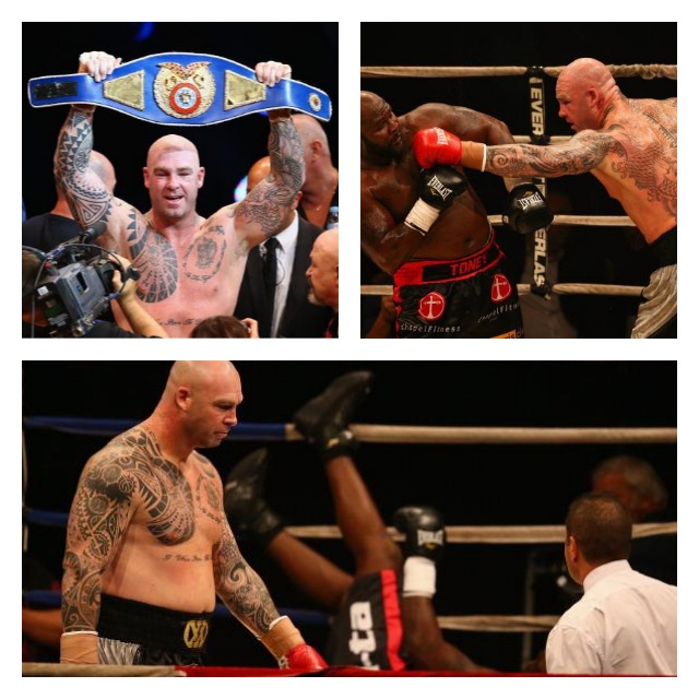 "Lucas ""Big Daddy"" Browne holds his Heavyweight Championship belt  high overhead. In the bottom photo, James ""Lights Out"" Toney landed in a most awkward position with his legs in the air."