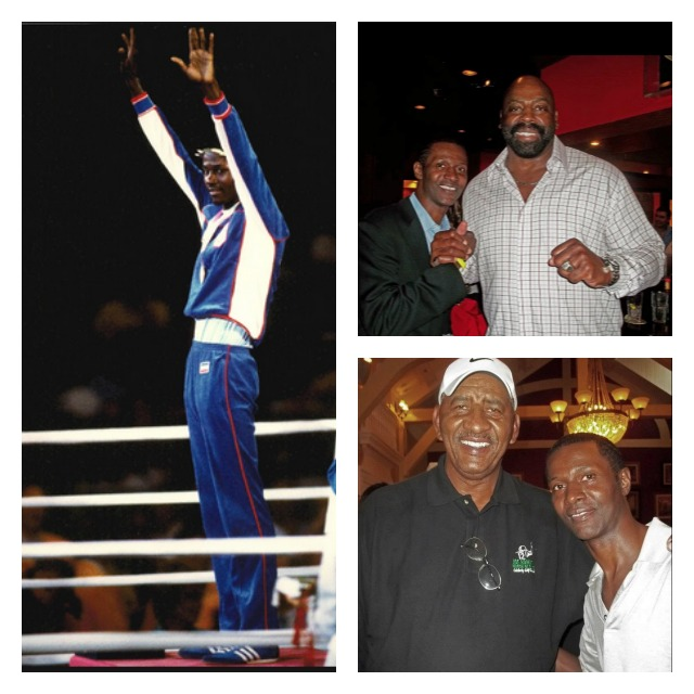 """Photos above show Mark Breland (l) waving to the cheering fans at the 1984 Olympic Games in Los Angeles. Then top right we see Breland with Ed """"Too Tall"""" Jones of the Dallas Cowboys (below) with basketball great, George """"The Iceman"""" Gervin of the San Antonio Spurs and later with the Chicago Bulls."""