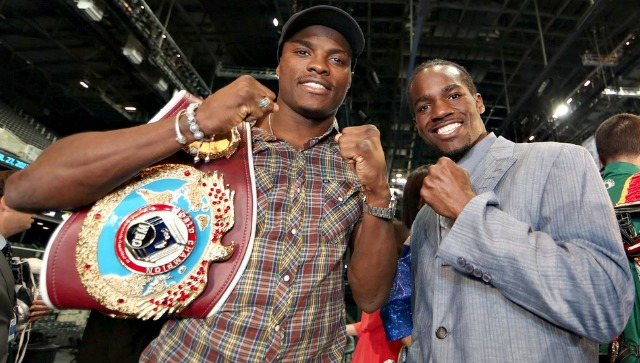 "Fernando Guerrero  (r) and Peter ""Kid Chocolate"" Quillin pose for a photo on media day."