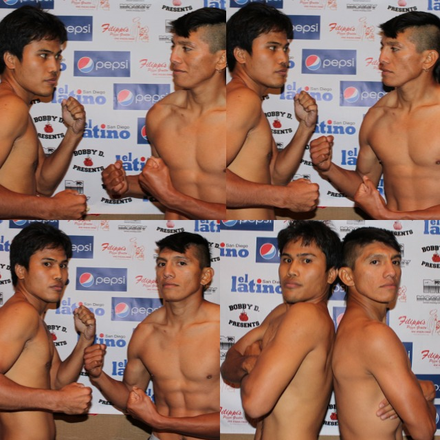 In the top left panel, Pablo Cupul smiles at Nescito Gesta Jr. his opponent on Friday night. Gesta took the opposite approach and gave Cupul a steely staredown.