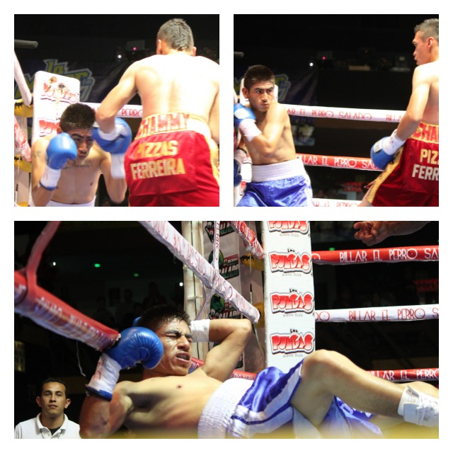 """In the final bout of the evening, it was Heriberto """"Tremendo"""" Delgado (red trunks) getting the win over Bernardino """"Viejito"""" Guevara (blue trunks)."""