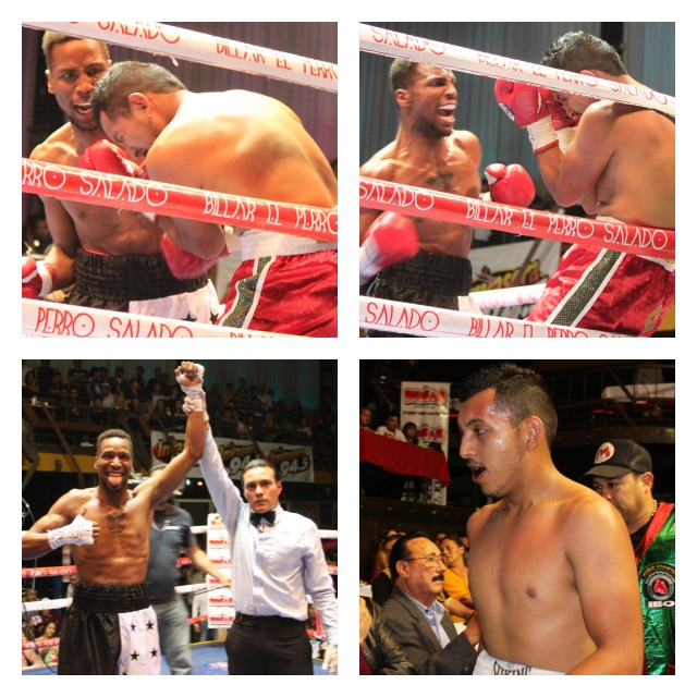 Referee Cristian Curiel raises the arm of the victorious Leon Spinks III.