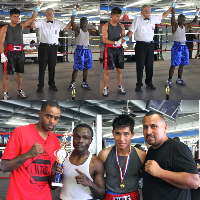 (top right photo) At the conclusion of Bout #2 referee Will White raises the arm of Mulopi Ewani (r) after he defeated Hai Tran. Below the boxers pose for photos with their coaches Tiger Smalls (l) and Joe Vargas (r).