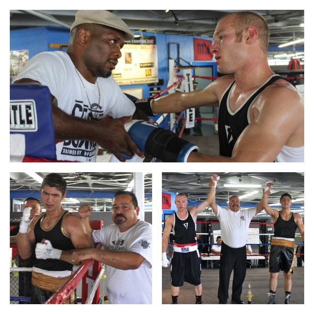 (top photo) At the conclusion of Bout #4, Coach Vernon Lee talks with boxer Kyle Olson about his performance. (bottom left) The victorious Ivan Beltran poses for a photo with his coach Luis Gamez.