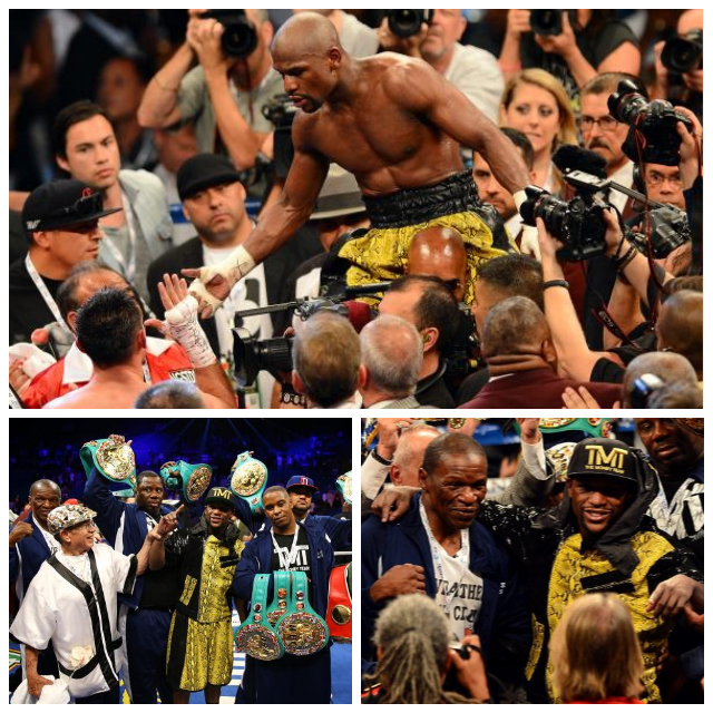 FinalCollage of Mayweather's victory celebration