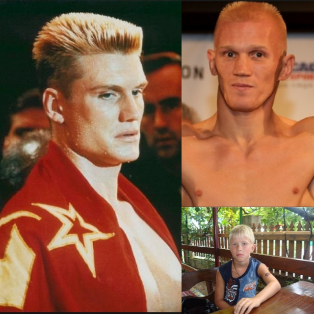 "On the top right we have Denis ""Drago's Son"" Grachev present day and below a photo of Grachev as a youngster. And who's the man on the left? He's the character Ivan Drago played by Dolph Lundgren in the movie Rocky IV. Standing seven foot tall and weighing 259 pounds, he was an insanely bada## boxer from the Soviet Union who perpetually beat the crap out of anyone who dared cross his path."