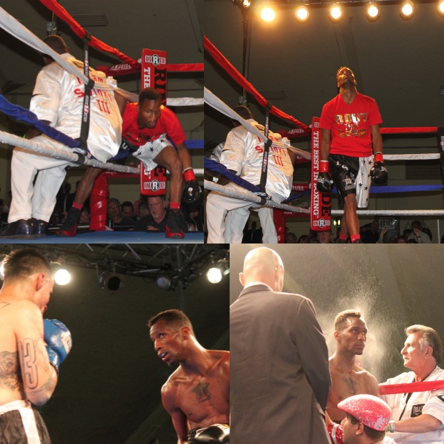 Each photo shows a different side of the showman Leon Spinks III. In the bottom right it's as if a bright, yellow halo has formed around his head.
